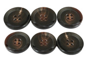 YCEE 6 Pieces Genuine Natural Big Dark Brown Horn Button Set (25mm, 1 inch) - Wide tip Rim - For Overcoat, Winter Coat, Uniform, Jacket, Blazer