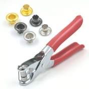 """300 Sets One Pliers + Gold Grommets Eyelets 3/16"""" 4mm For Canvas Clothes Leather Self Backing Purse Buckle"""