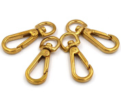 Okones Pack of 4Pcs, 1cm Eye Inner,2.5cm - 2cm OAL,Solid Brass Ring Lobster Clasp Claw Lobster Snap Lanyard Hook Lobster Claw Clasp for Straps Bags Belting Leathercarft