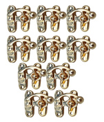 RaanPahMuang Metal Slip Lock Swing Latch Clasp Gold 3cm set of 10pcs