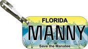 Personalised Florida Manatee Zipper Pull State Licence Plate Replica