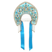 "Russian Traditional Folk Costume Headdress Kokoshnik ""Tatyana"" light blue"