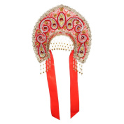 "Russian Traditional Folk Costume Headdress Kokoshnik ""Tatyana"" red"