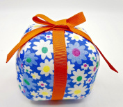 Dritz Floral Gift Pincushion,Square Floral Block with Orange Ribbon & Bow