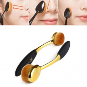 Neverland Beauty 2pcs Gold & Black Oval Makeup Brushes Makeup Cosmetic Liquid Cream Powder Foundation Blusher Brush