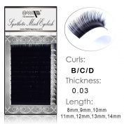 Semi Permanent Individual Eyelash Extension Mink Silk 3D 6D 9D Volume B/C/D Curl .03 thickness ( 8mm-14mm) /12 Rows/tray