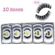 Wholesale 10 boxes/lot MY-014 100% Real Mink Hair Messy Cross False eyelashes 3D fake eye lashes
