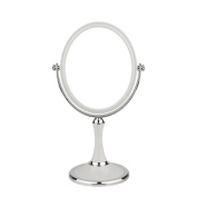 ACELIST Desktop 15cm Oval Shaped Double-Sided Lighted Makeup Mirror; 1x and 3x Magnifying Vanity Mirror