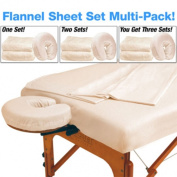 Master Massage Multi 3 Pack Deluxe Massage Table Flannel 3 Piece Sheet Set, 100% Cotton