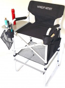 TuscanyPro Tall Makeup Chair --Side Tray, 2 Brush Holders--Mesh Trash Bag- -80cm Seat Height