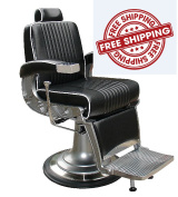 Barber Chair Stainless Steel Fixtures Black Salon Beauty KENNEDY