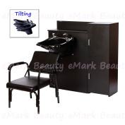 TILTING ABS Plastic Beauty Salon Shampoo Bowl Mounted to Floor Cabinet w/ MAXIMUM STORAGE and AutoReclining Shampoo Chair