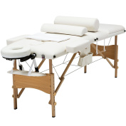MSG 210cm L Portable Massage Table 3 Fold Portable Facial Spa Bed+2 Bolster+Cradle+Hanger White