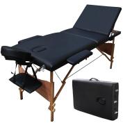 ShoPpERcHoiCE 210cm L 3 Section Portable Massage Table Facial SPA Bed Tattoo w/Carry Case Black
