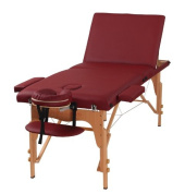 The Best Massage Table 3 Fold Burgundy Reiki Portable Massage Table - PU Leather High Quality - By Heaven Massage