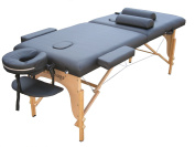 Black 5.1cm Pad 2 Fold Massage Table W/Free Two Bolster