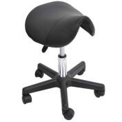Adjustable Swivel Salon Massage Spa Seat Tattoo Chair Saddle Stool - Black by HOMCOM