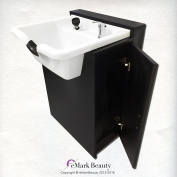 White Square ABS Plastic Beauty Salon Shampoo Bowl Floor Cabinet w/ Storage TLC-W22-FC
