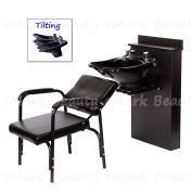 TILTING ABS Plastic Shampoo Bowl Black Floor Length Backsplash 13WT-BC38-216