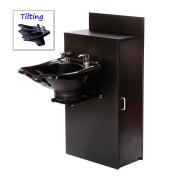 TILTING ABS Plastic Shampoo Bowl Floor Cabinet w/ Storage 13WT-BC42