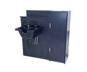 Square ABS Plastic Beauty Salon Shampoo Bowl Mounted Black Floor Cabinet w/ MAXIMUM STORAGE