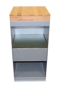 Spa Trolley with Butcher Block Top and 2 Shelves / Portable Storage Cabinet