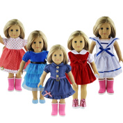 ZWSISU 5pcs . Doll Outfits Clothes Set Fit 46cm American Girl Doll,My Life Doll,Our Generation and Journey Girls Dolls