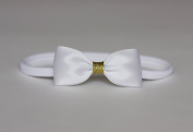 Baby Bow Headband, Small Satin Bow With Glitter Centre Handmade Headband, Baby to Adult Headband - Golden Beam