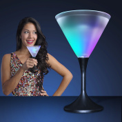 Light Up LED Frosted Martini Glass Black Base