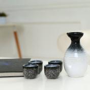 5 Piece Japanese Ceramic Sake Set, Blue / Grey Textured Design Carafe and 4 Cups