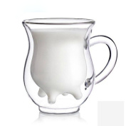 LOHOME (TM) Handcraft Borosilicate Glass Cup Creative Cute Calf and Half Transparent Heat-resisting Double-layer Cow Milk Glass Cup Creamer Pitcher