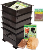 """Worm Factory DS4BT 4-Tray Worm Composting Bin + Bonus """"What Can Red Wigglers Eat."""" Infographic Refrigerator Magnet - Vermicomposting Container System - Live Worm Farm Starter Kit for Kids & Adults"""