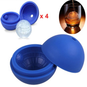 Beyonta Set of 4 Star Wars Death Star Sphere Ice Ball Makers, Silicone Ice Ball Mould for Whiskey, Cocktail and Chocolates, Blue