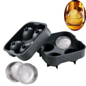 Beyonta Ice Ball Maker Mould, Silicon Spheres Ice Tray with Moulds 4 x 4.5cm Ice Ball Spheres for Scotch, Whiskey,Cocktails