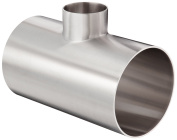 Dixon B7RWWW-R400200P Stainless Steel 316L Polished Fitting, Weld Reducing Tee, 10cm Tube OD x 5.1cm Tube OD x 10cm Tube OD