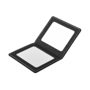 Makeup Mirror with high grade Black Leather.Best Portable Folding Cosmetic Mirror(Black).