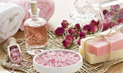 """Christmas """"Sweet Rose"""" Handmade Soaps and Salts with Towels hamper"""