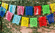 """Mexican PLASTIC Fishtail Papel Picado Banner """"Flor de Sol"""" - Design & Colours as Pictured by Paper Full of Wishes"""