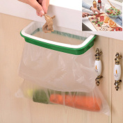 Lunies Hanging Trash Garbage Bag Holder for Kitchen Cupboard Green and White