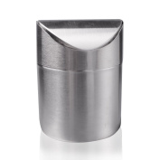 Recycling Trash Can,Sanmersen Fashion Mini Brushed Stainless Steel Wave Cover Counter Top Trash Can Garbage Bin Wastebasket Perfect for the Kitchen Bathroom Office Use