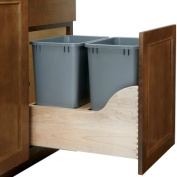 Rev-A-Shelf - 4WCSC-1835DM-2 - Double 33.1l. Pull-Out Bottom Mount Wood and Silver Waste Container with Soft-Close Slides