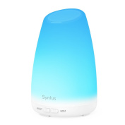 Syntus 150ml Essential Oil Diffuser Portable Ultrasonic Aromatherapy Diffusers with 7 Changeable Coloured LED Lights, Adjustable Mist Mode and Waterless Auto Shut-off