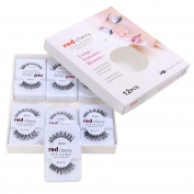 Cravog 12 Pairs False Fake Human Hair Eyelashes Adhesives Glamour Black Natural Eye Lashes Makeup Beauty
