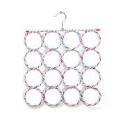 16 Holes Slots Belt Tie Hook Organiser Holder Fashion Rattan Weave Shawl Scarf Neat Hangers Random Colour