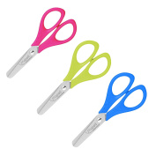 "Maped ""START"" Children's Kids Safety Scissors 12 cm Stainless Steel Round Ended Blades, Ergonomic Handles - Pack of 3 Pairs = ""1 of Each Colour"""