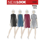 NEW LOOK UN6469A 6469 Pattern 6469 Misses' Easy Knit Dress with Length & Sleeve Variations