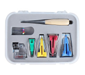 TOPCHANCES 16 Pcs DIY Craft Sewing Patchwork Bias Tape Maker Tool Kit for Sewing Quilting Awl and Adjustable Binder Foot w/ Case