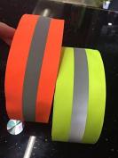 Neon Green Reflective Glo Grosgrain Ribbon - 5.1cm Silver Reflective Stripe -100% Polyester / Sports, Selling Per 2 Yards