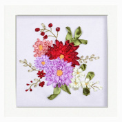 Egoshop Silk Ribbon Embroidery Spring Flower blooming Kit Eight Couplet Painting X5003A DIY Wall Decor Stamp Silk Ribbon Embroidery Kit With English Instruction