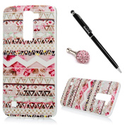 K10 Case, LG K10 Case - Fancy Colourful Print Premuim Flexible Soft TPU Rubber Skin Gel Bumper Ultra-thin Snug Fit Light Weight Protective Cover with Dust Plug & Stylus Pen by BADALink - Totem Patterns